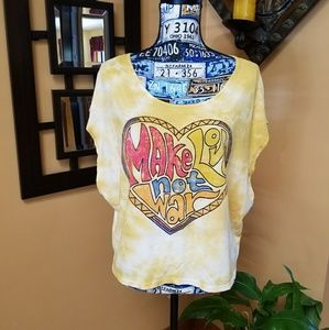 MAKE LOVE NOT WAR TYE DYE BATWING TOP
